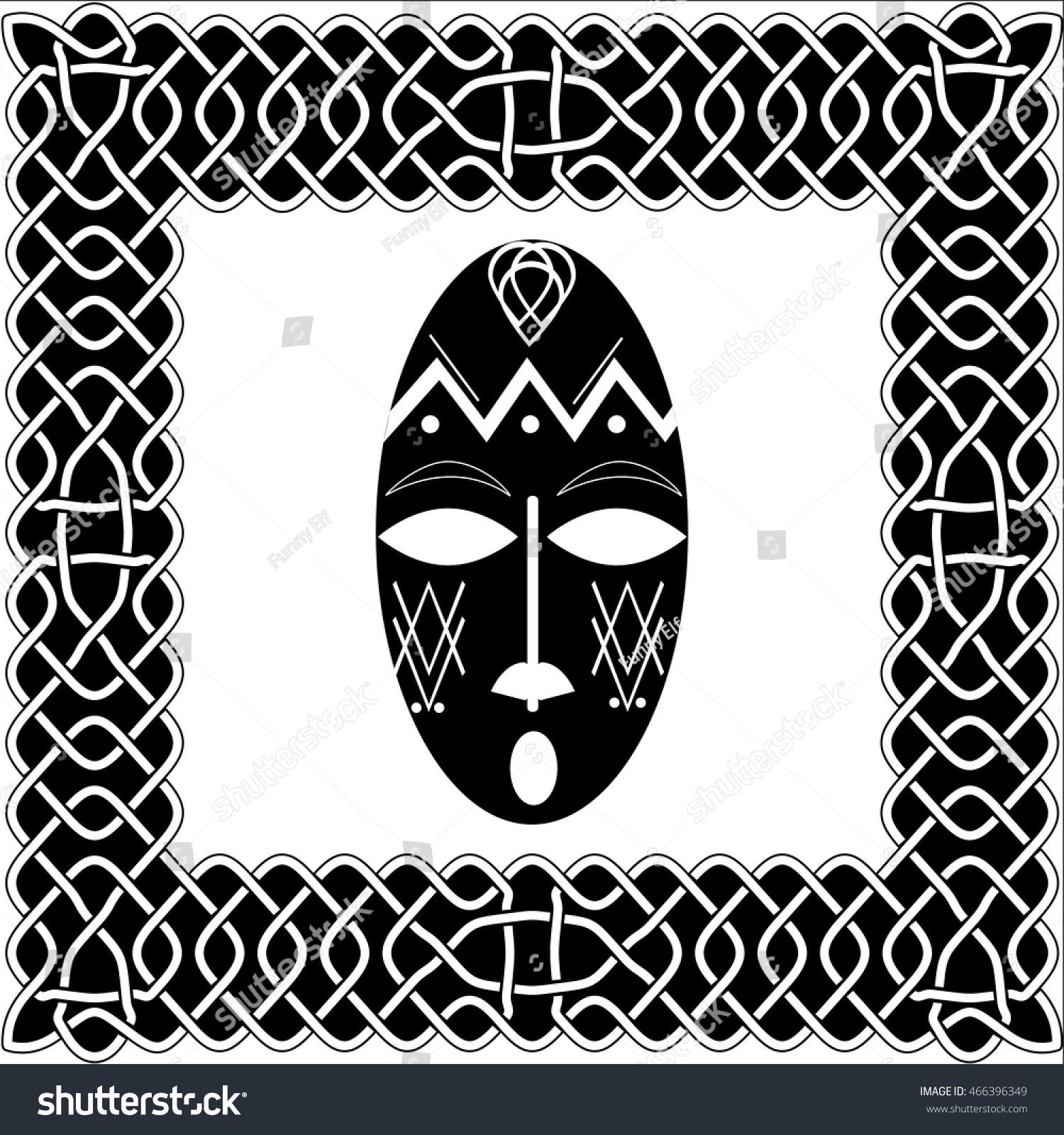 silhouette blackwhite mask shaman native american stock vector