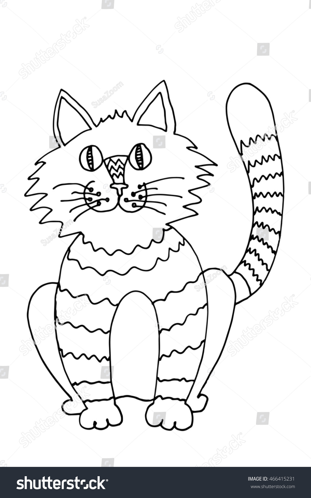 outline funny cat coloring picture black stock illustration
