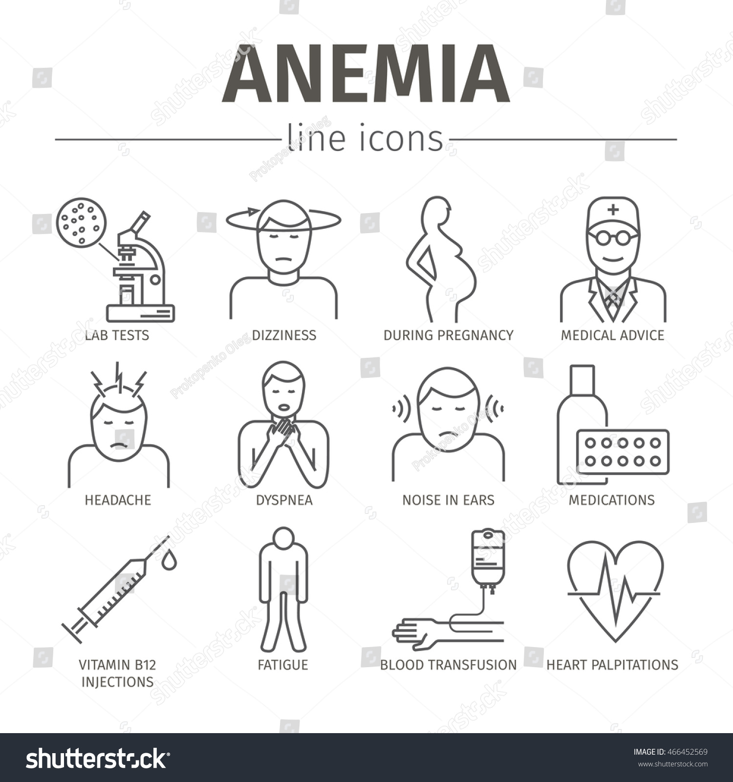 Symptoms Anemia Iron Deficiency Diagnosis Treatment Stock Vector ...