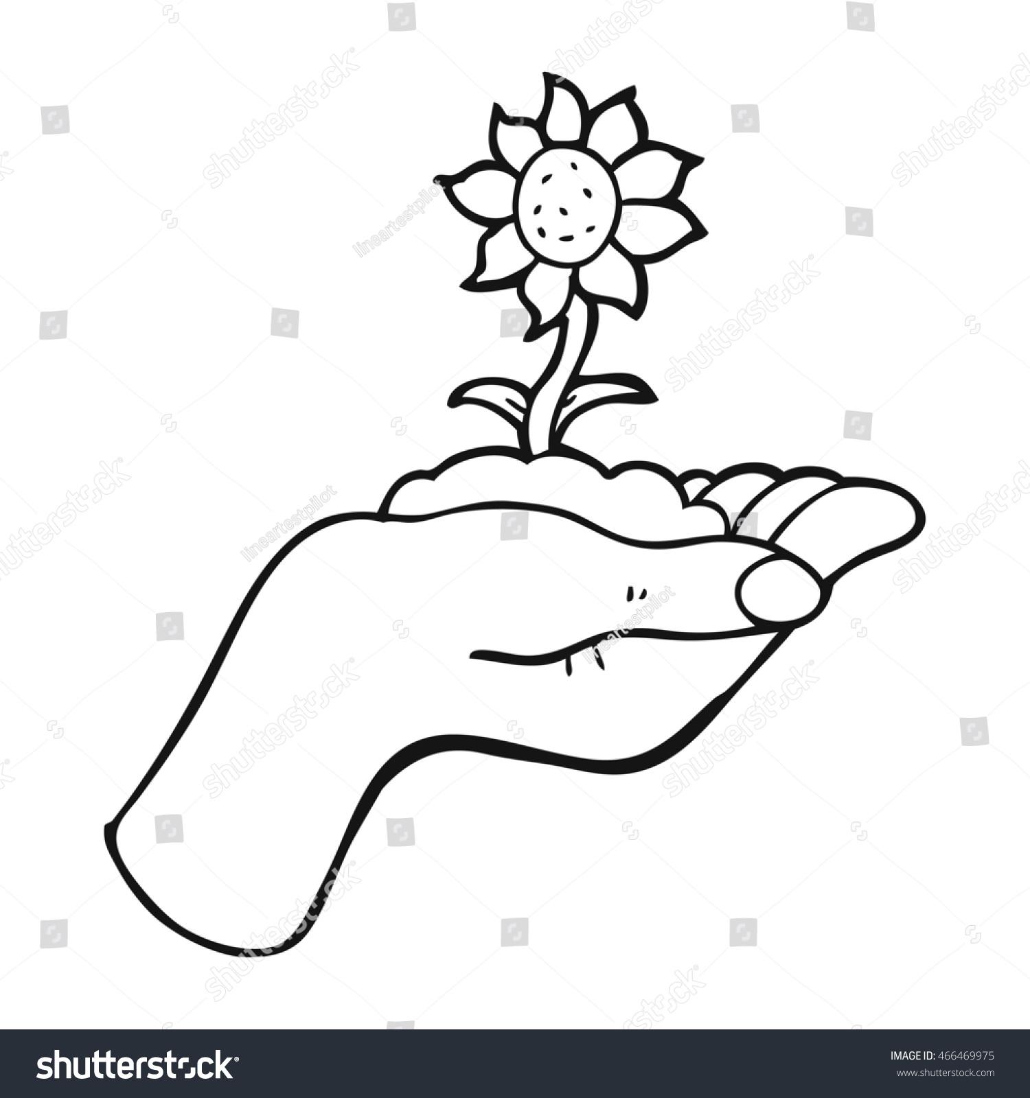 Freehand Drawn Black White Cartoon Flower Stock Illustration