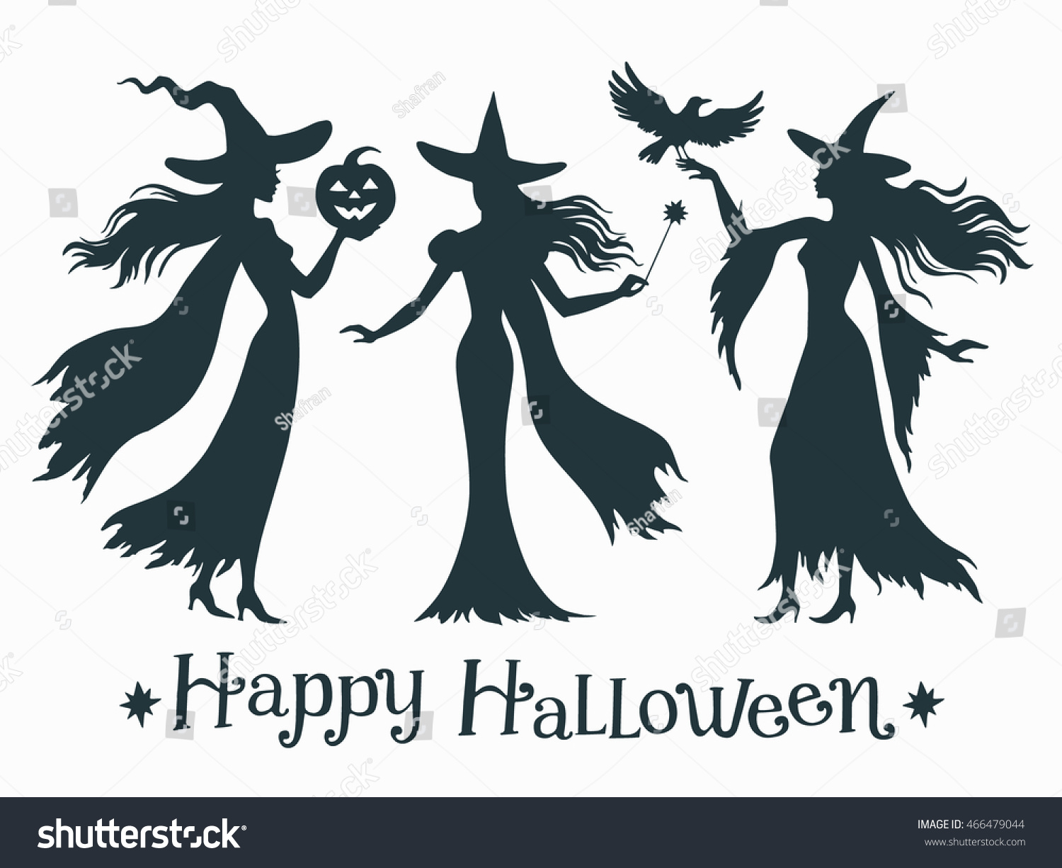 set halloween witches silhouette vector illustration stock vector