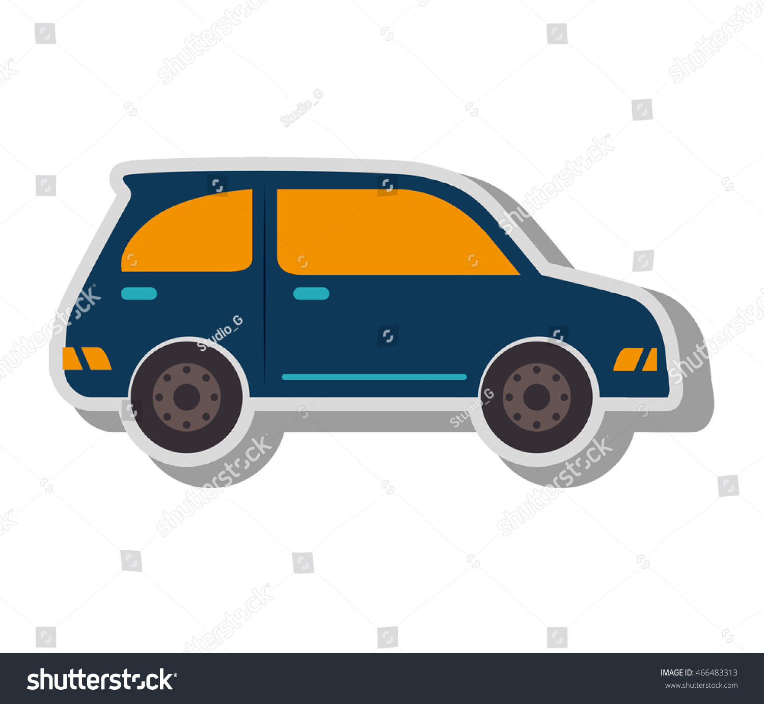 Car Vehicle Transport Isolated Flat Icon Stock Vector