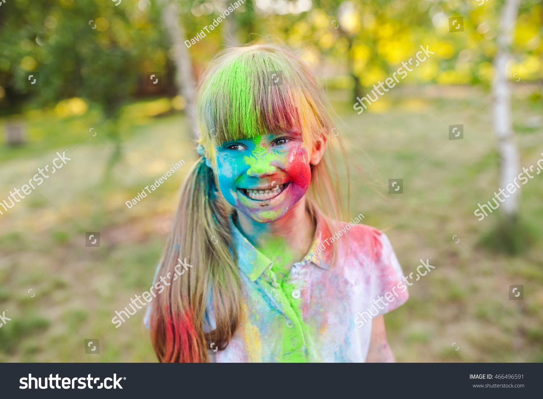 portrait cute girl painted colors holi stock photo 466496591 shutterstock. Black Bedroom Furniture Sets. Home Design Ideas
