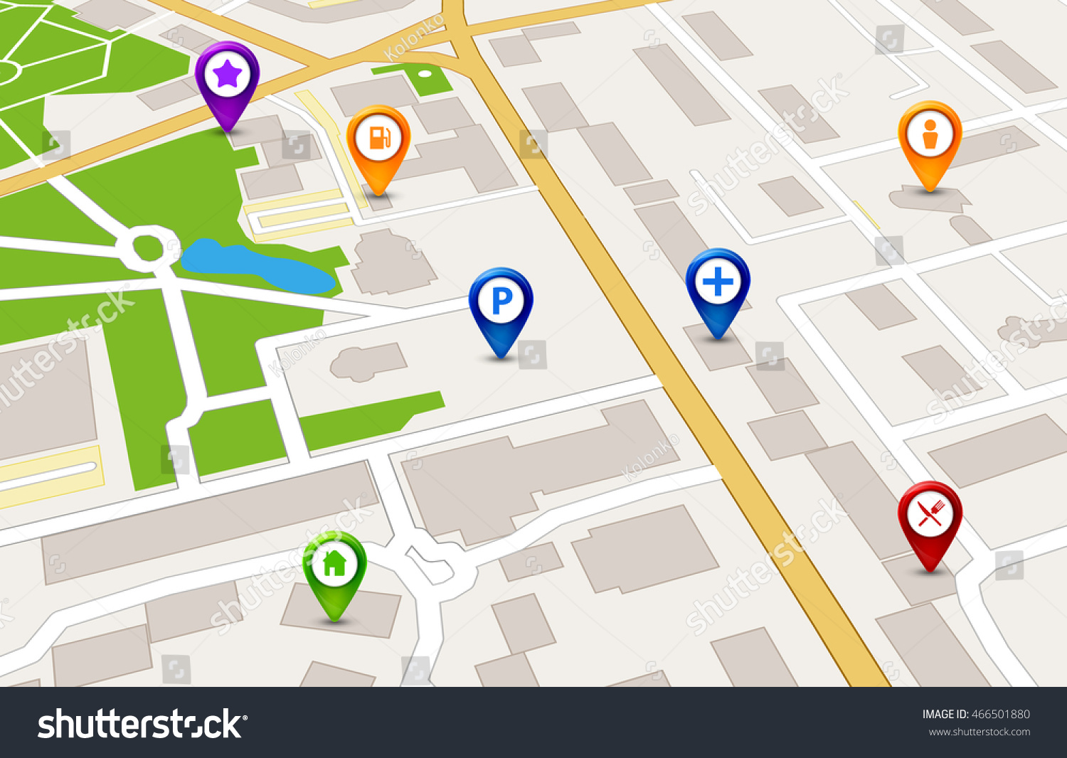 Vector Perspective City Map Gps Service Stock Vector 466501880