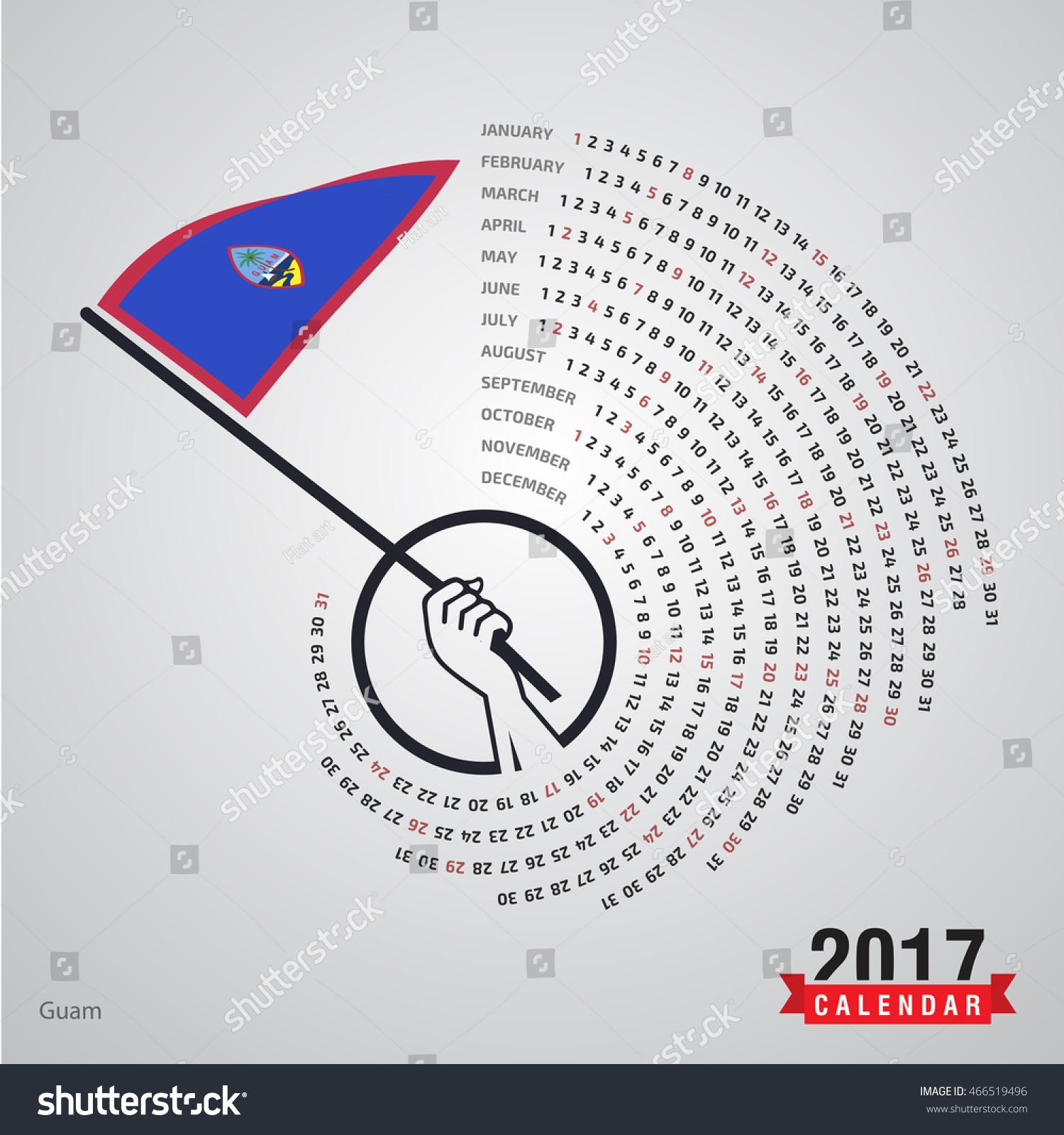 Calendar Illustration Search : Calendar guam country waving flag banner spiral