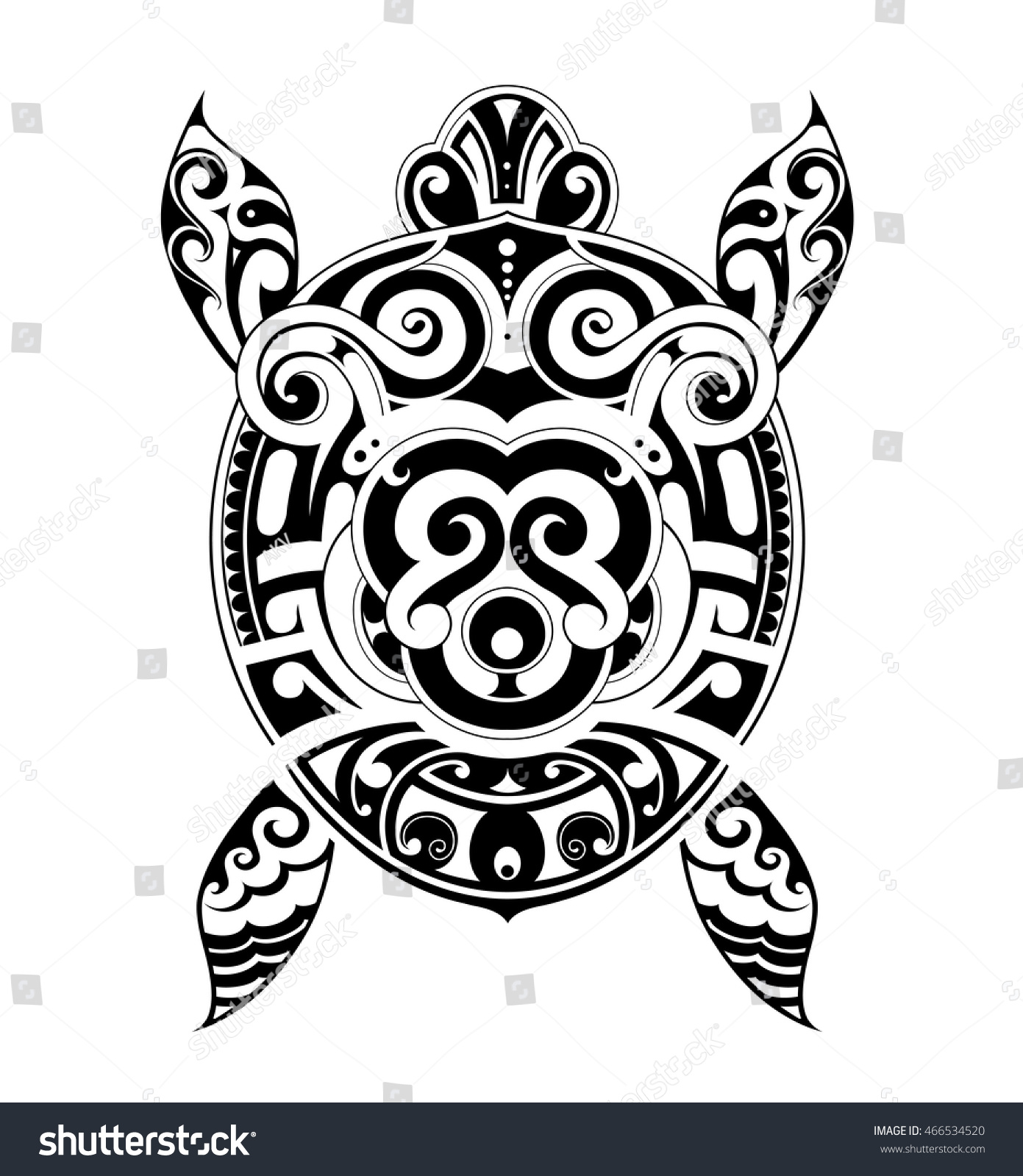 Turtle tattoo in Maori style