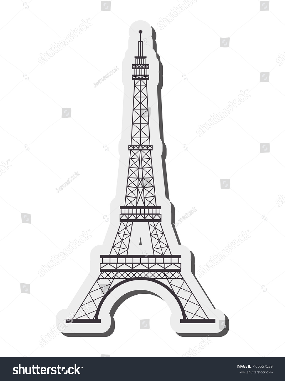 Super Flat Design Tour Eiffel Icon Vector Stock Vector 466557539  JB75