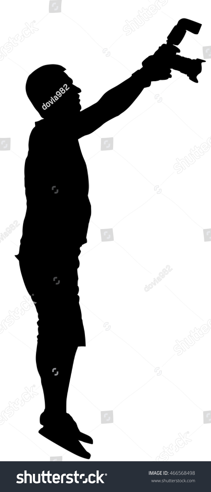 photographer paparazzi shooting on the event vector silhouette illustration isolated on white background
