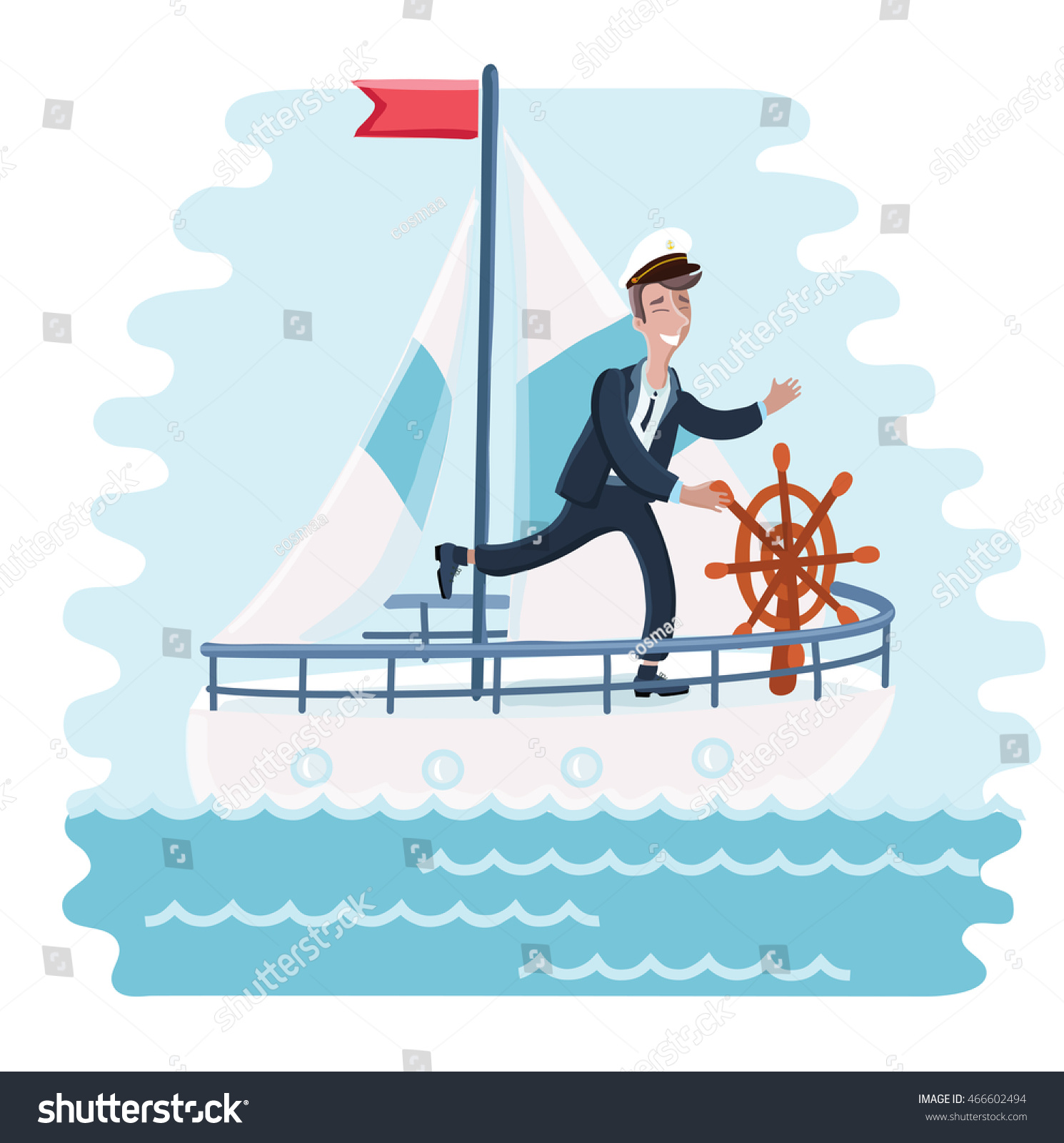 Vector illustration of cartoon captain spinning wheel and steers the ship into the sea