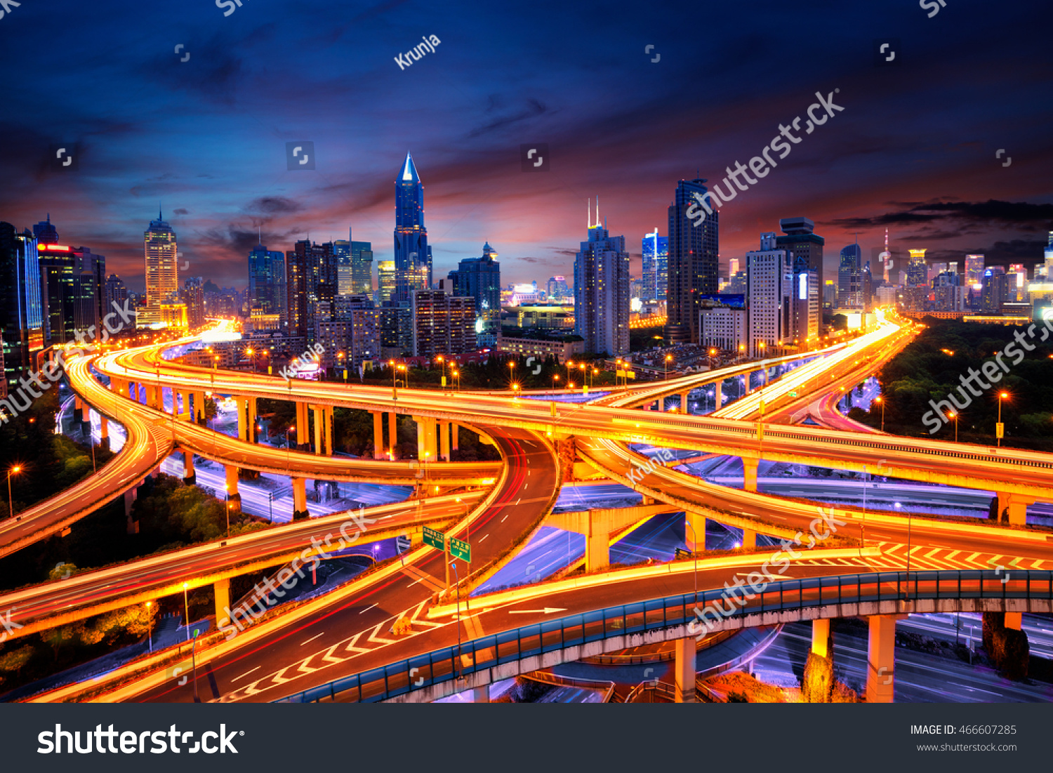 Elevated view of a Road Junction in Shanghai China aerial view the overpass at night shanghai china