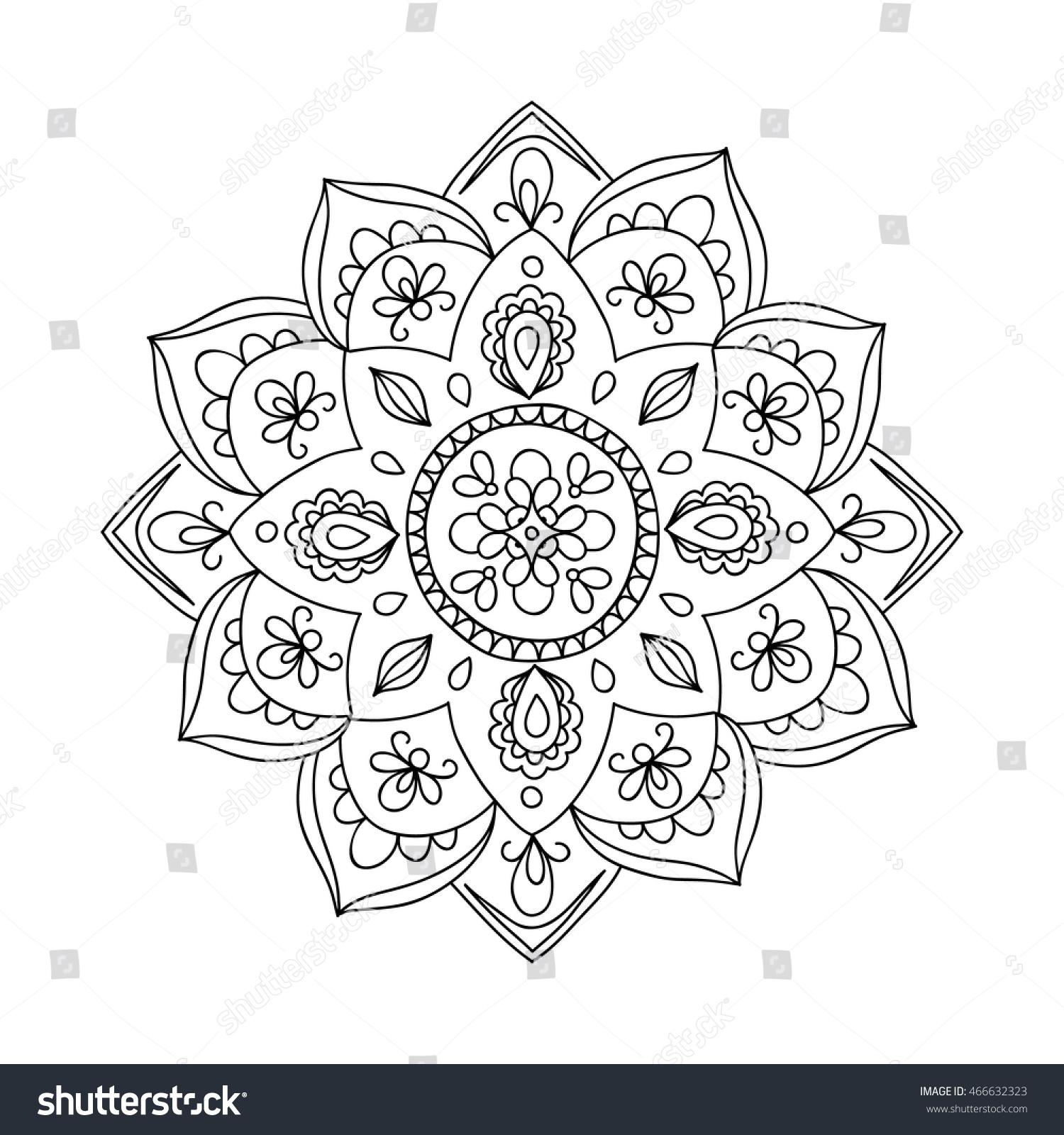 Contour Drawing Mandala Perfect Yoga Logo Stock Vector