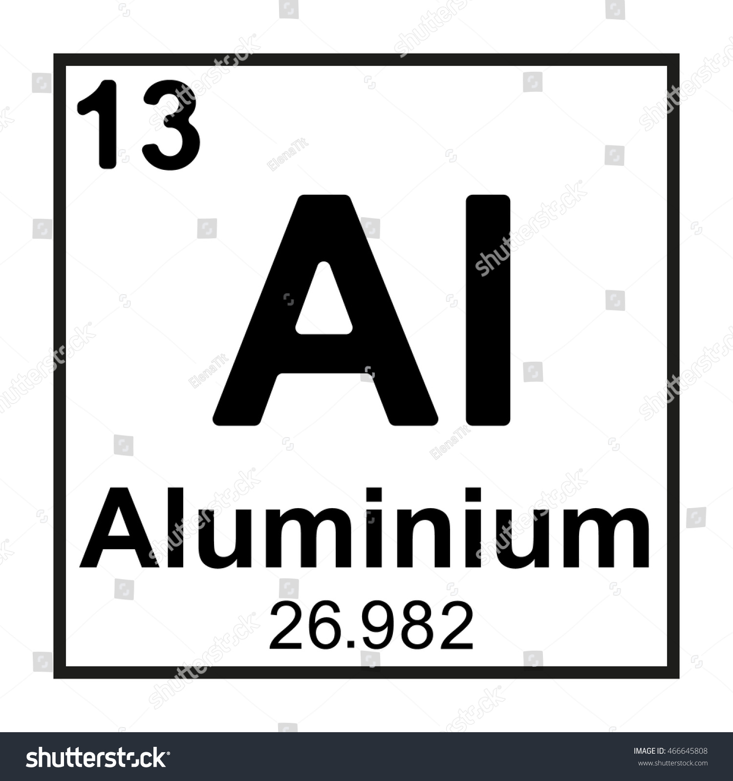 Periodic Table Element Aluminium Stock Vector 466645808 ...
