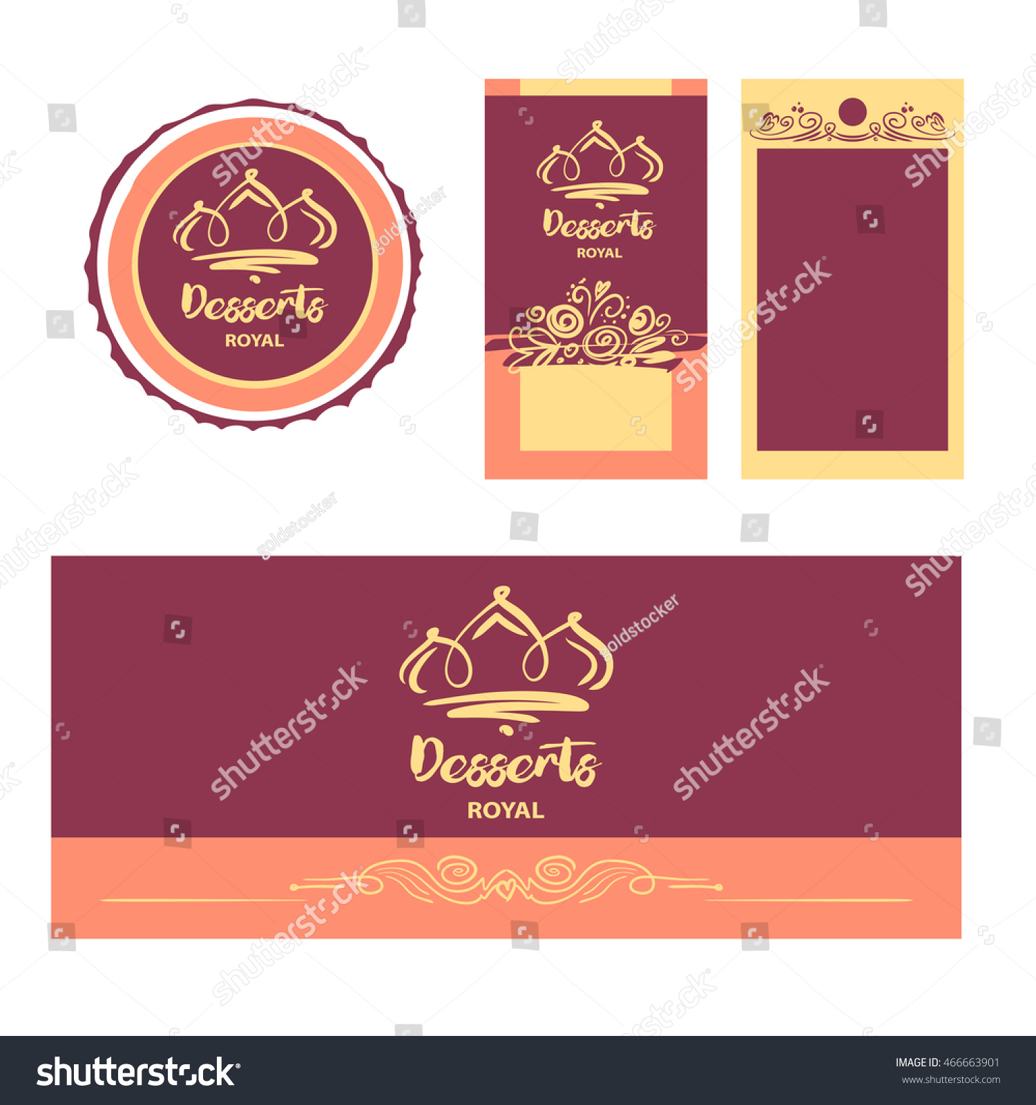 Cake Sweet Shop Logo Royal Dessert Stock Vector 466663901 ...