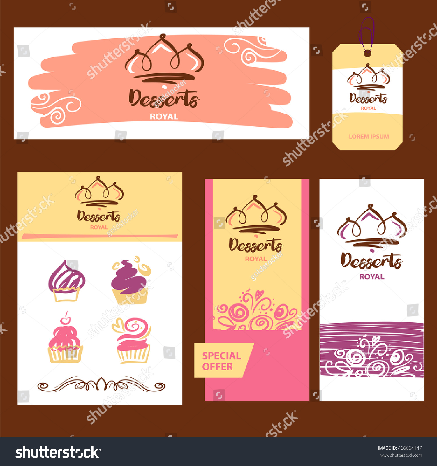 Cake Sweet Shop Logo Royal Dessert Stock Vector 466664147 ...