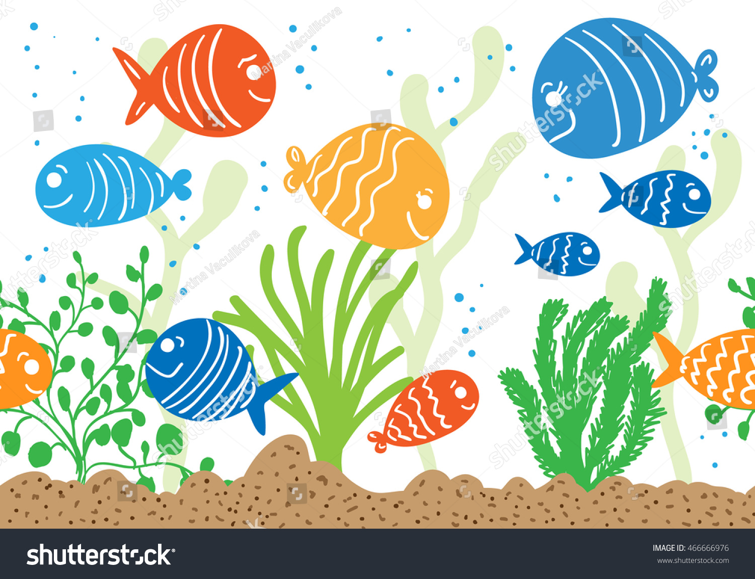 Aquarium doodle seamless pattern underwater tropical stock for Seamless fish tank