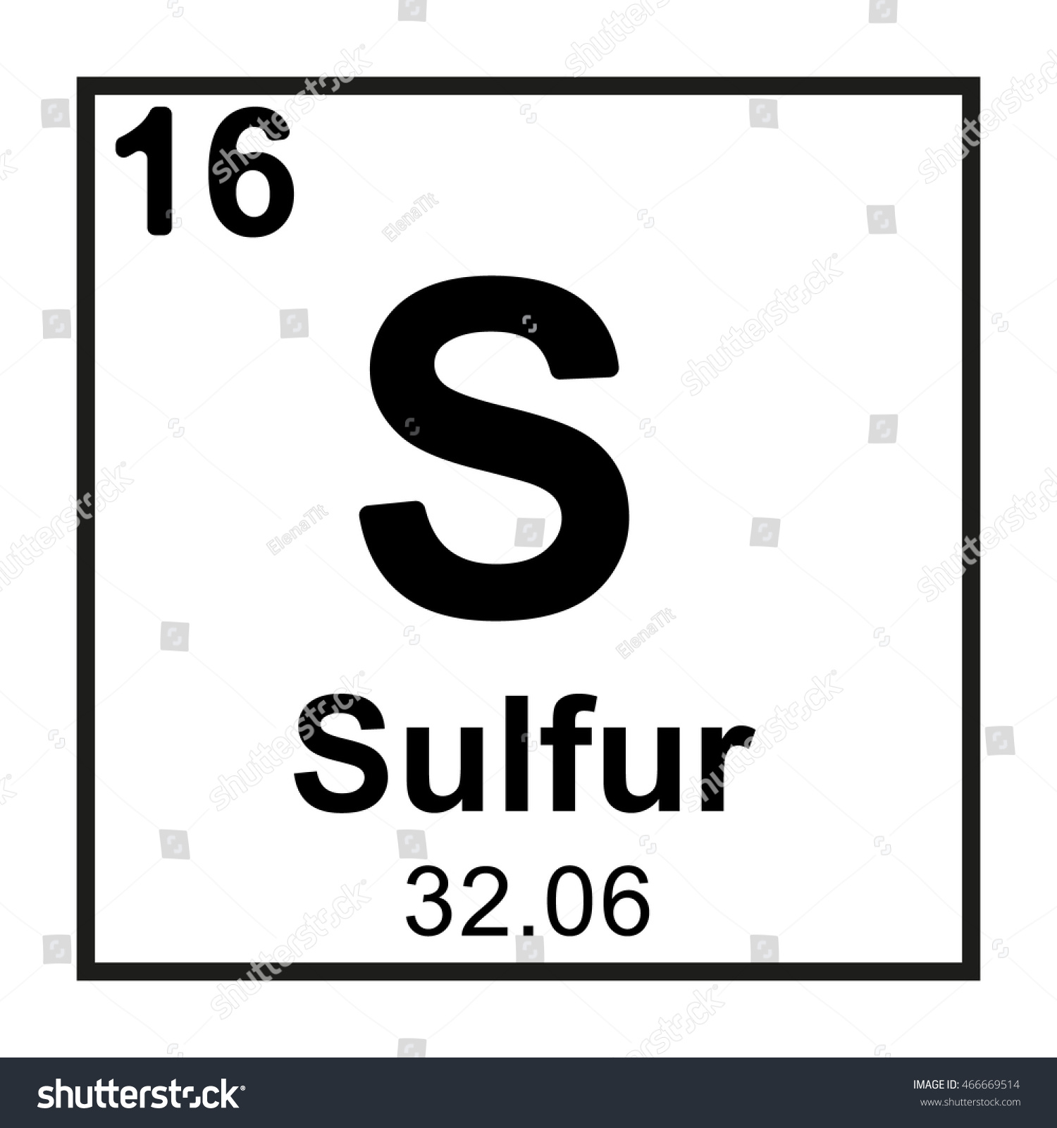 Periodic Table Element Sulfur Stock Vector Royalty Free 466669514