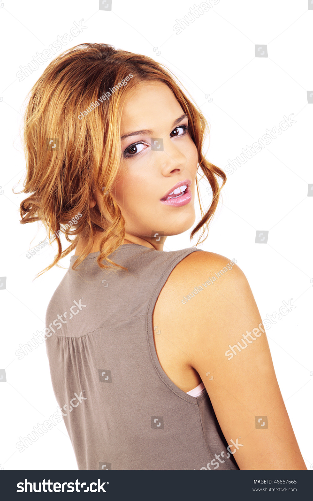 Great Casual Day Make Up Of Blond Beautiful Girl Looking Over The Shoulder  Isolated On White