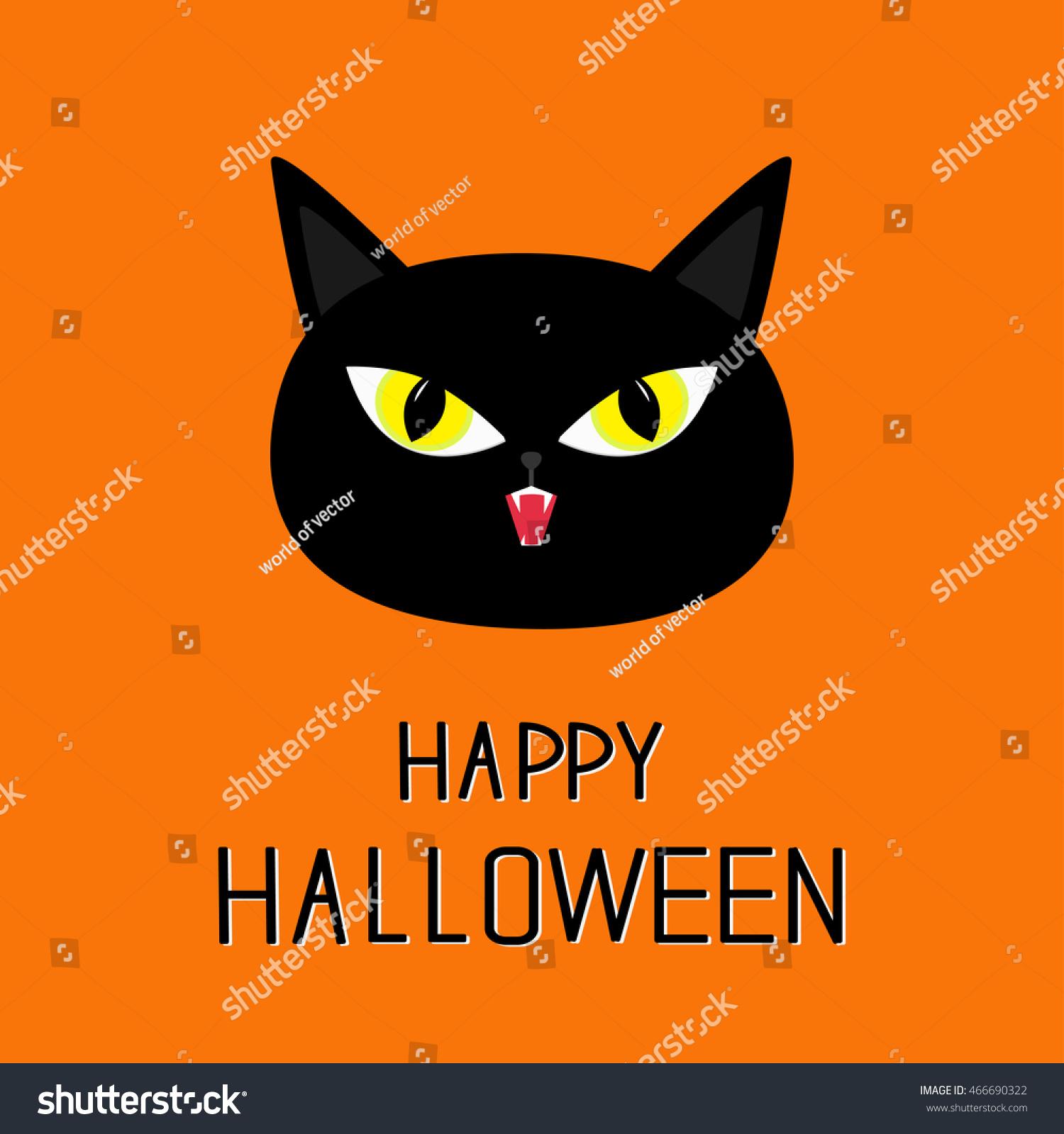 Black Cat Head Yellow Eyes Fangs Stock Vector Shutterstock