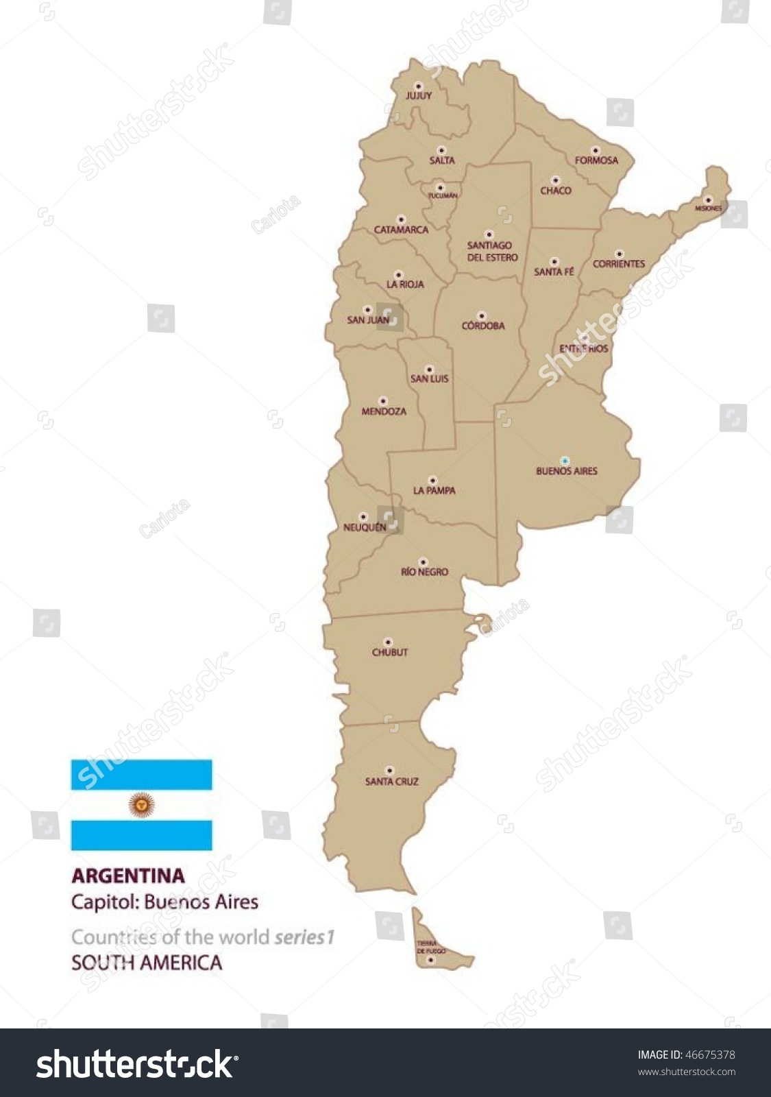 Vector Map Argentina Stock Vector Shutterstock - Argentina map vector free
