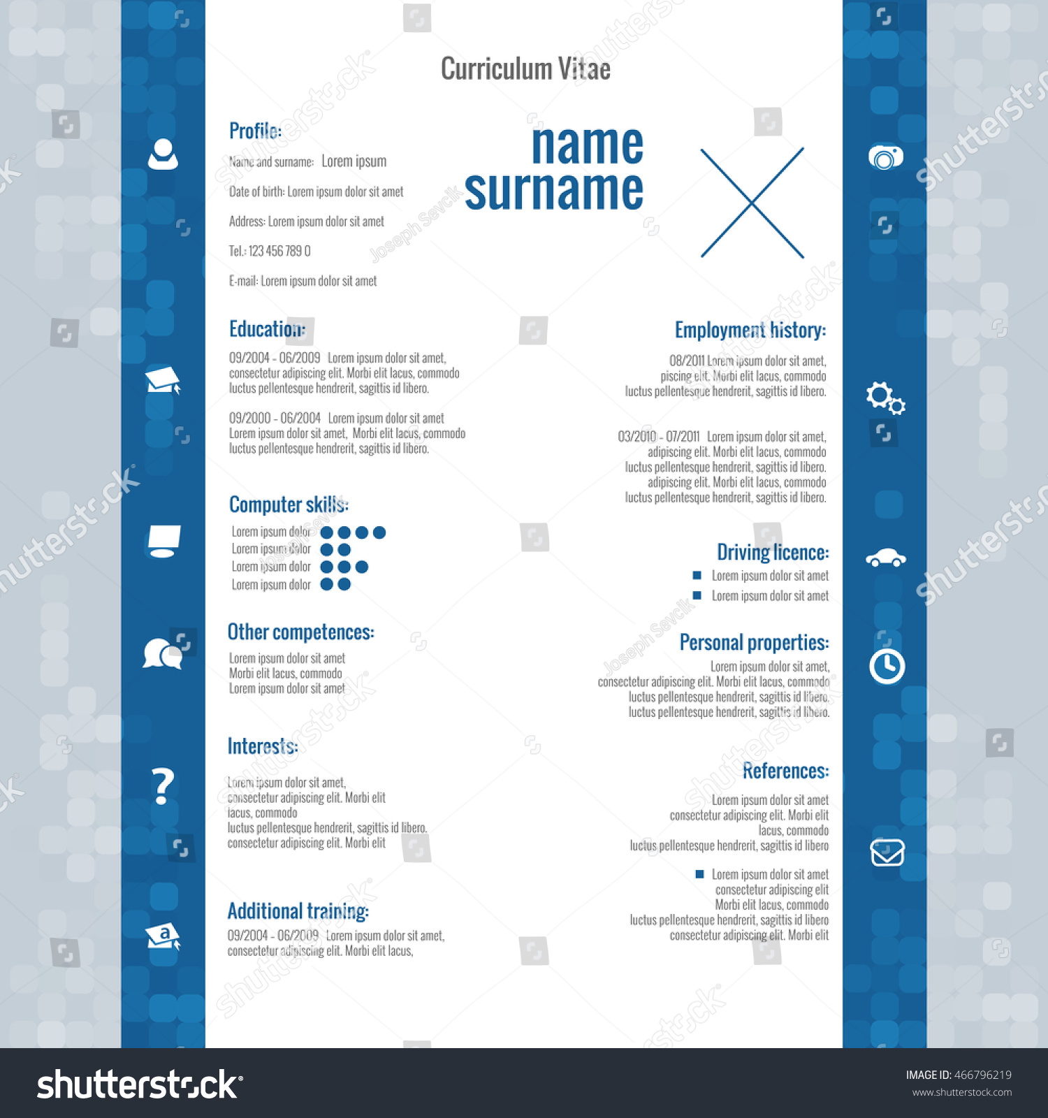 Vector Modern Cv Resume Template Stock Vector   Shutterstock