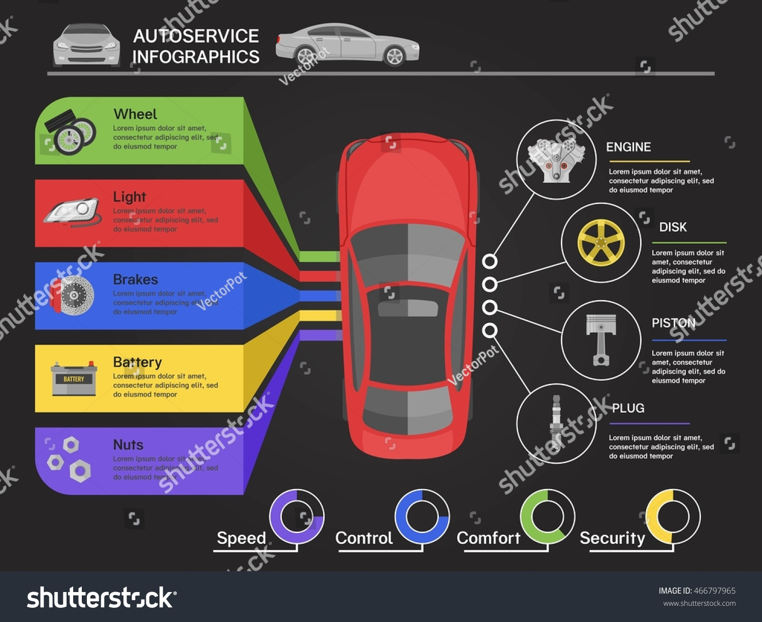 Auto Service Infographics Car View Top Stock Vector Royalty Free Diagrams With Of From Machine Details On Black Background
