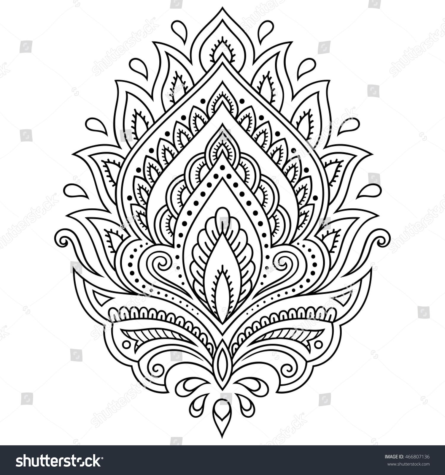 Royalty Free Mehndi Lotus Flower Pattern For Henna 466807136 Stock