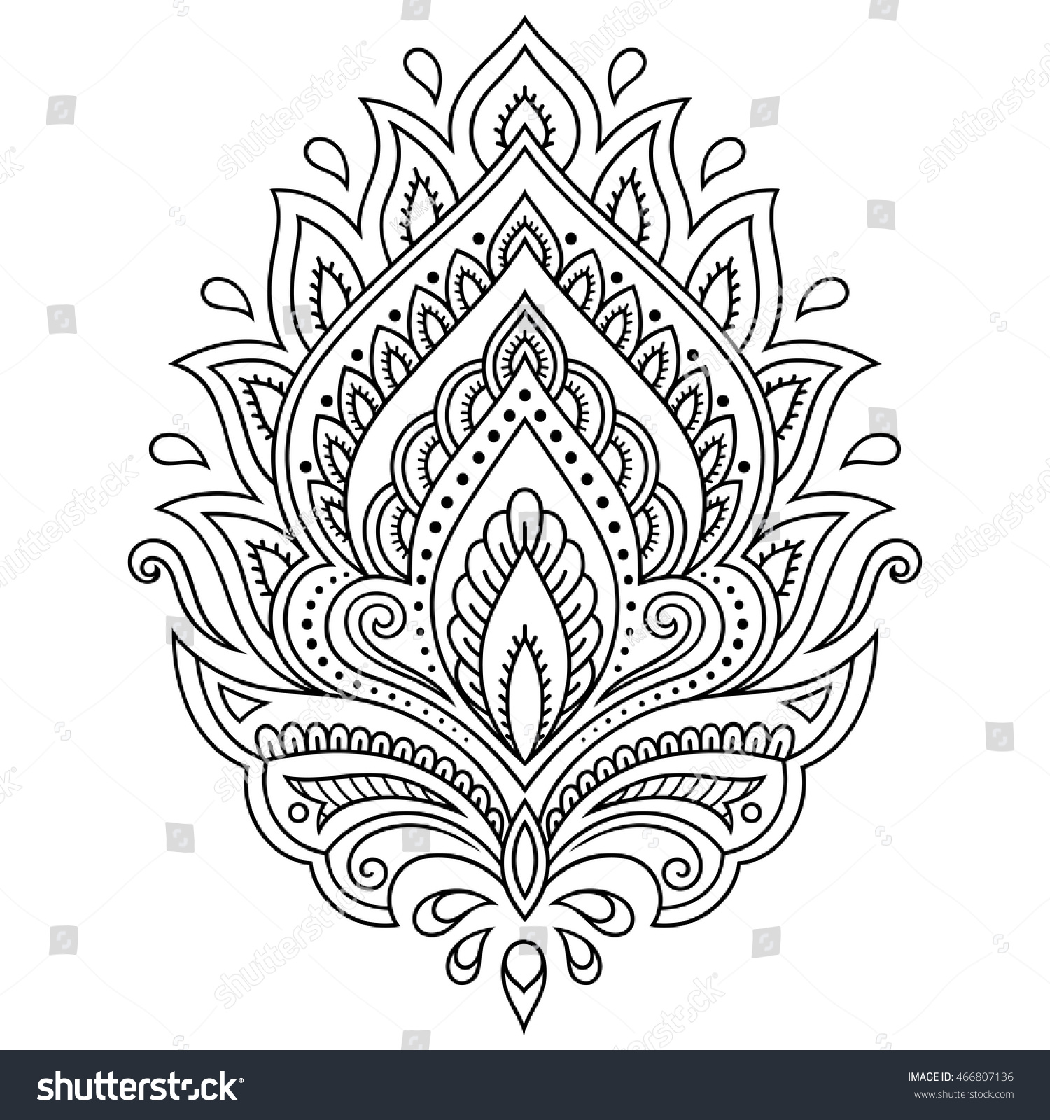 Henna Tattoo Flower Template In Indian Style: Henna Tattoo Flower Template Indian Style Stock Vector