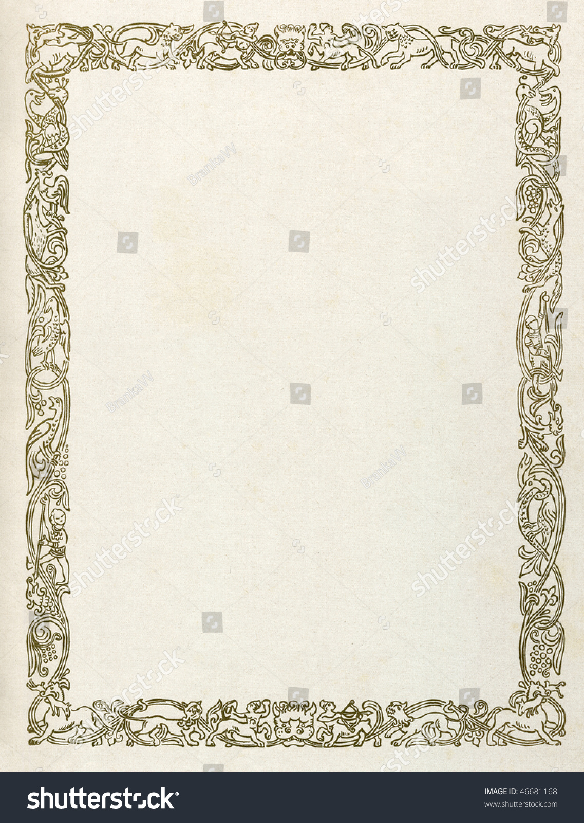 Printed Medieval Border Mythological Animals Pattern Stock