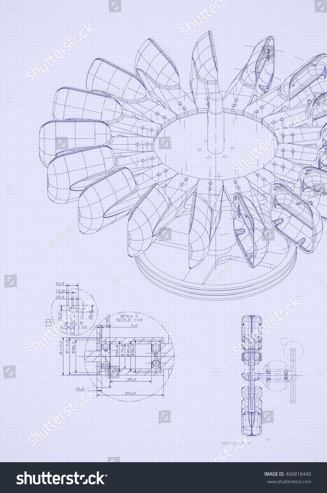 Blueprint detail top view stock illustration 466818440 shutterstock blueprint detail from top view malvernweather Images