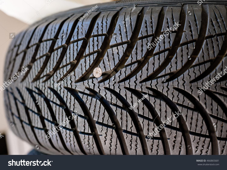 Metallic Nail Damaged Tyre Before Repair Stock Photo (Royalty Free ...
