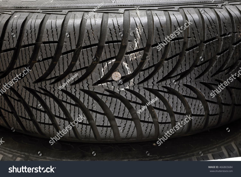 Metallic Nail Damaged Tyre Before Repair Stock Photo 466865684 ...