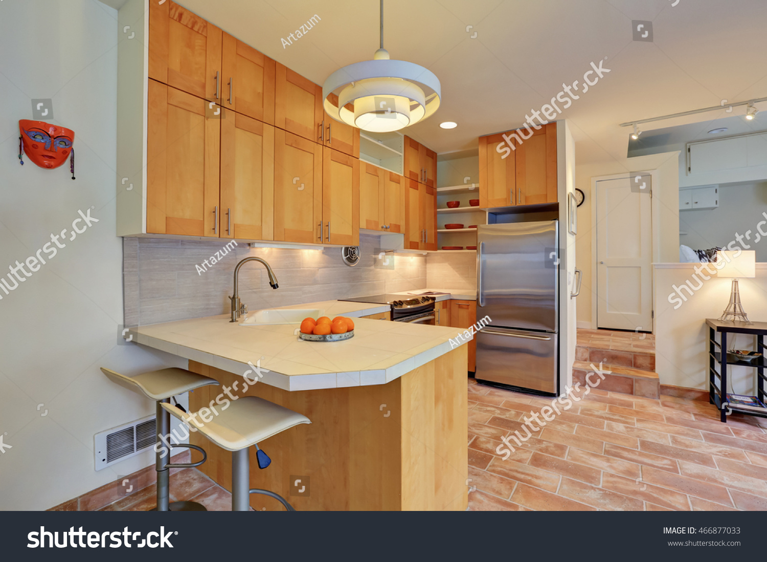 light brown kitchen interior steel appliances stock photo 466877033