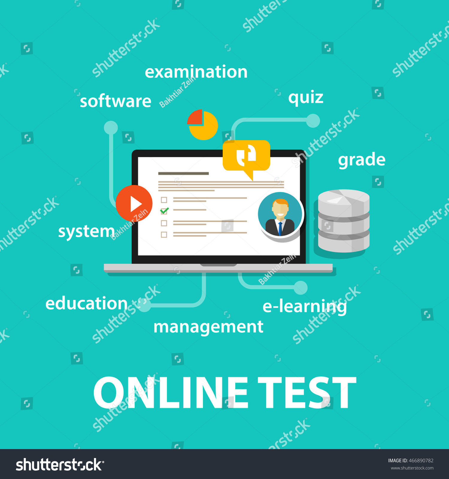 Online Test Exams Quiz Computer Laptop Stock Vector Royalty Free 466890782