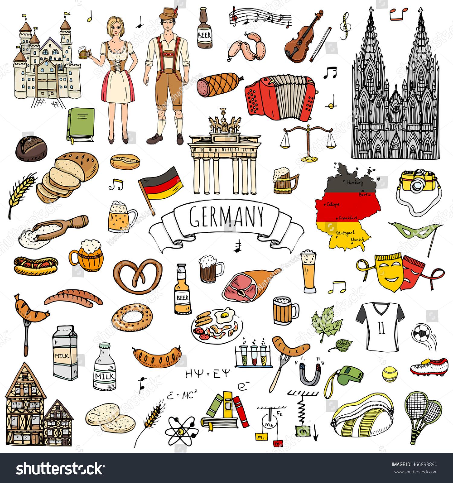 Suchen Sie nach Hand Drawn Doodle Set Germany Icons ...