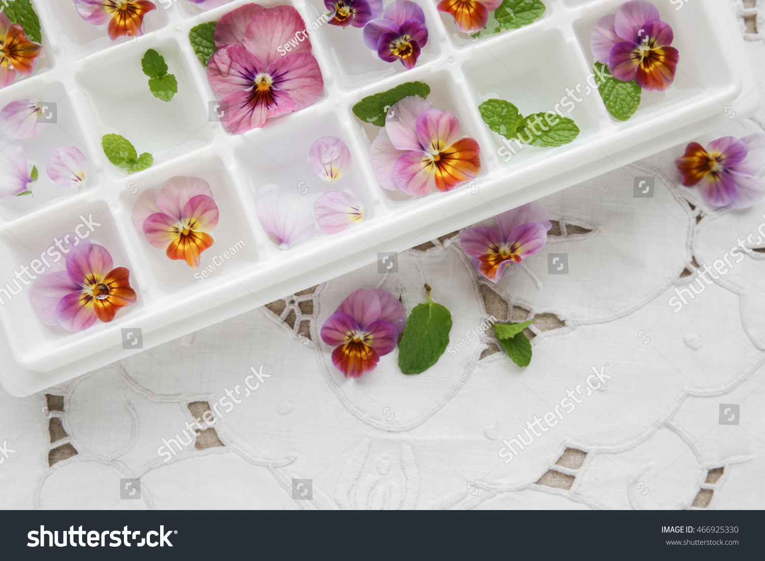 Edible flowers mint ice cubes tray stock photo 100 legal edible flowers and mint in ice cubes tray on white vintage linen background mightylinksfo