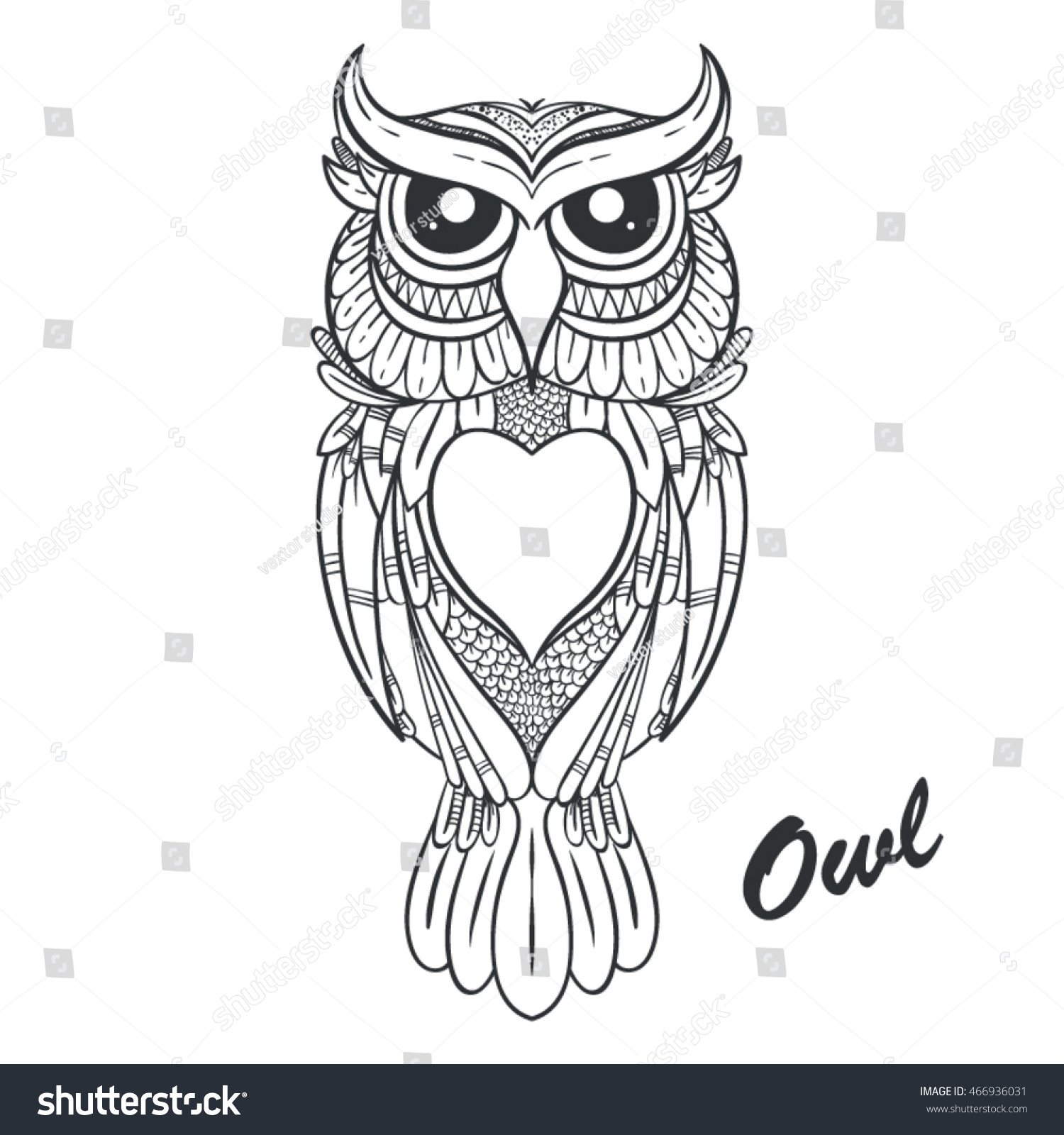 Vector Graphic Owl Coloring Stock Vector (Royalty Free) 466936031 ...