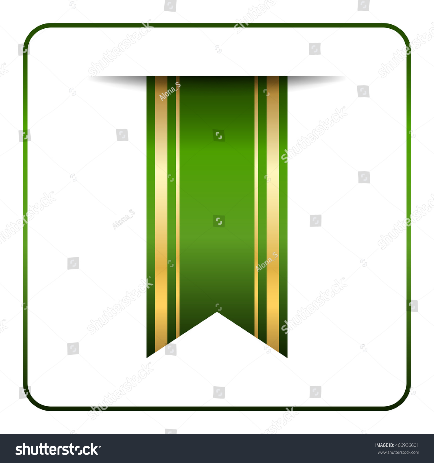 green gold bookmark banner vertical book stock vector (royalty free