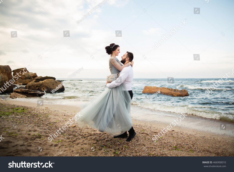 wedding wedding by sea young couple stock photo 466990010