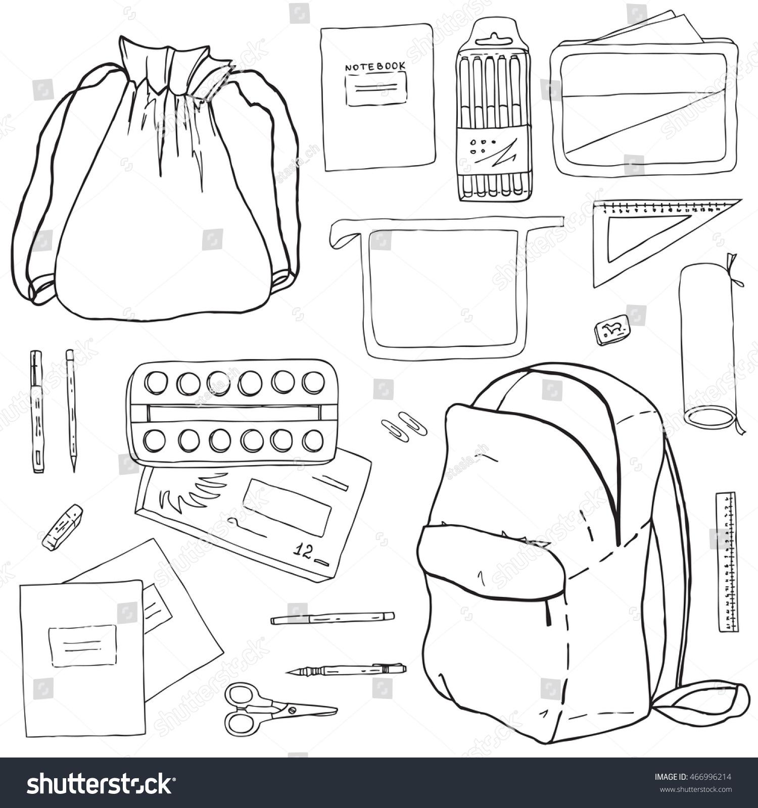 School bag diagram - Vector Set Of School Supplies Hand Drawn Ink Pictures Of Backpack School Bag For
