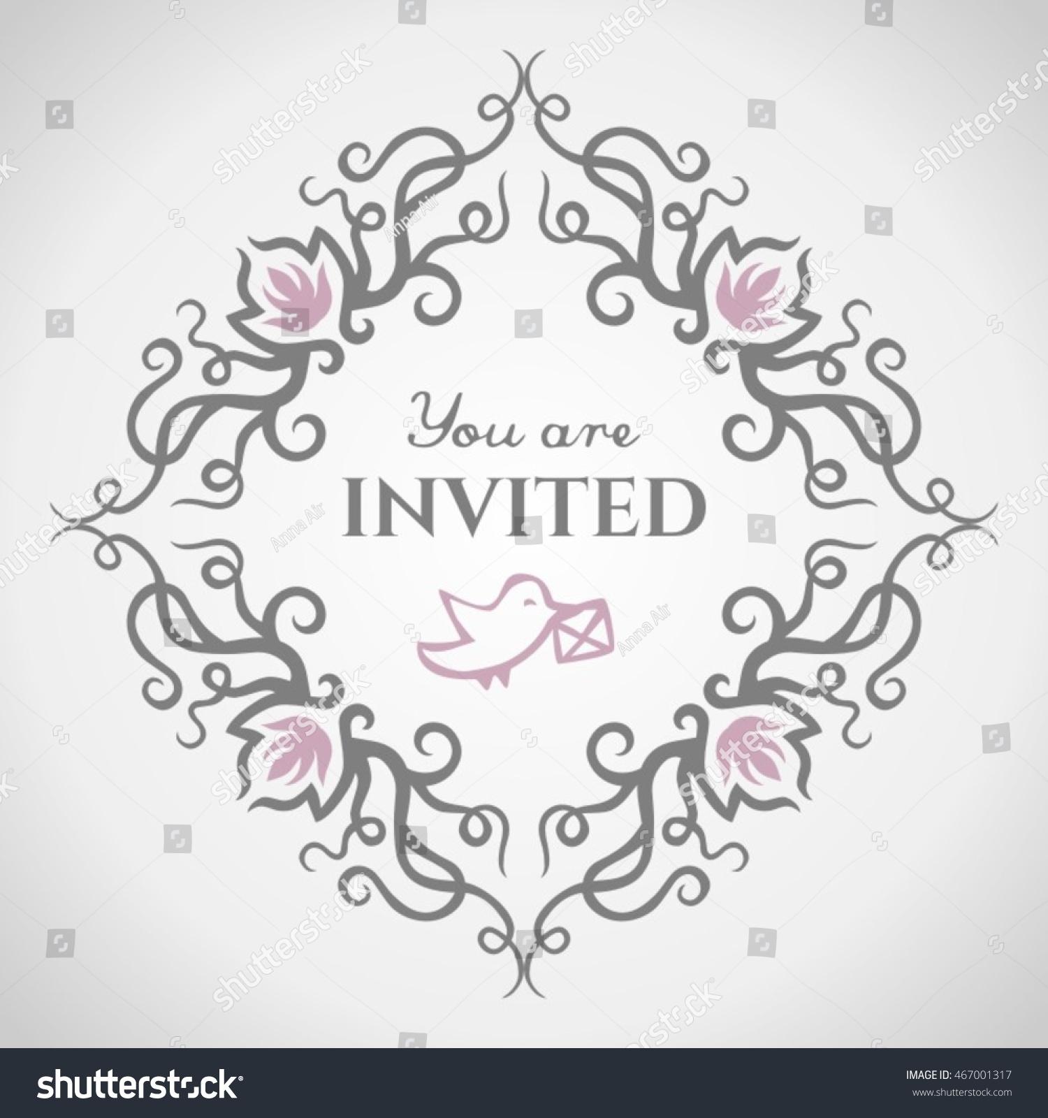 You Invited Sweet Nice Light Grey Stock Vector 467001317 - Shutterstock