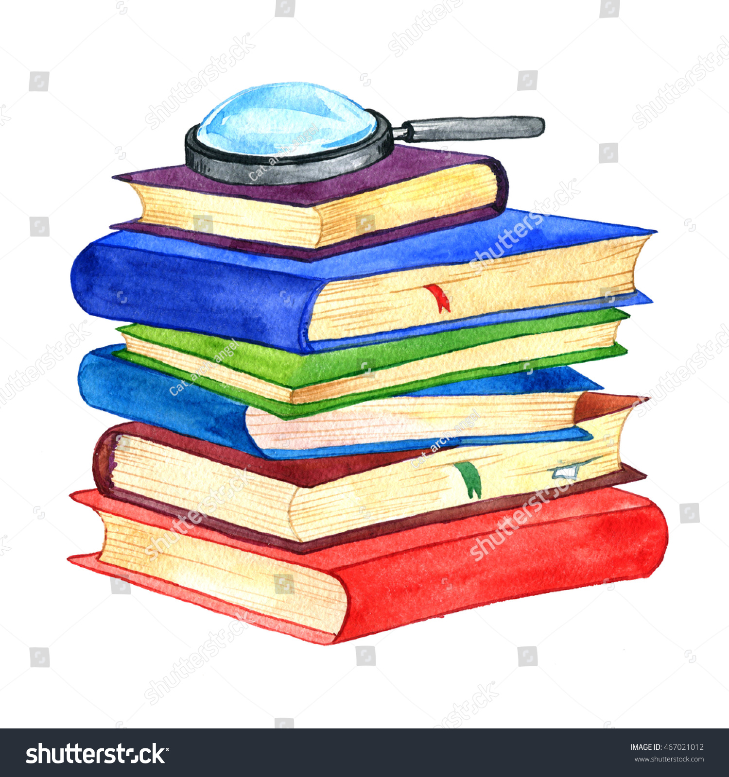 Watercolor Stack Books Magnifying Glass Isolated Stock