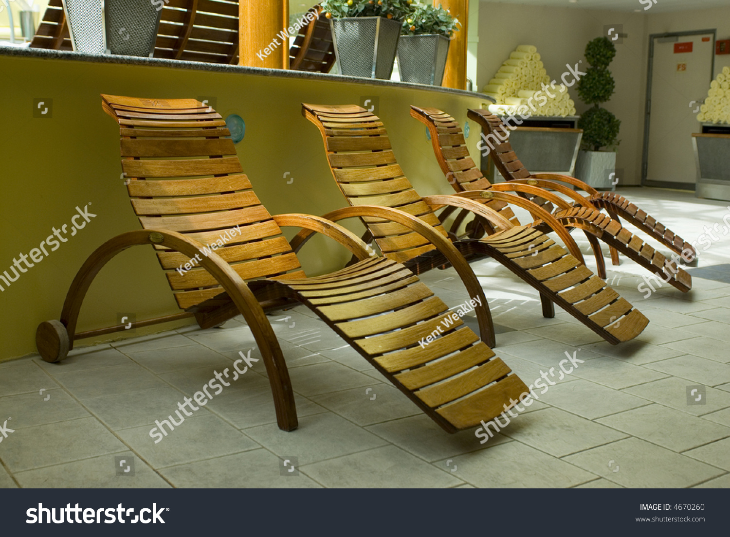 Spa Resort Wood Lounge Chairs Relaxing Stock Photo 4670260