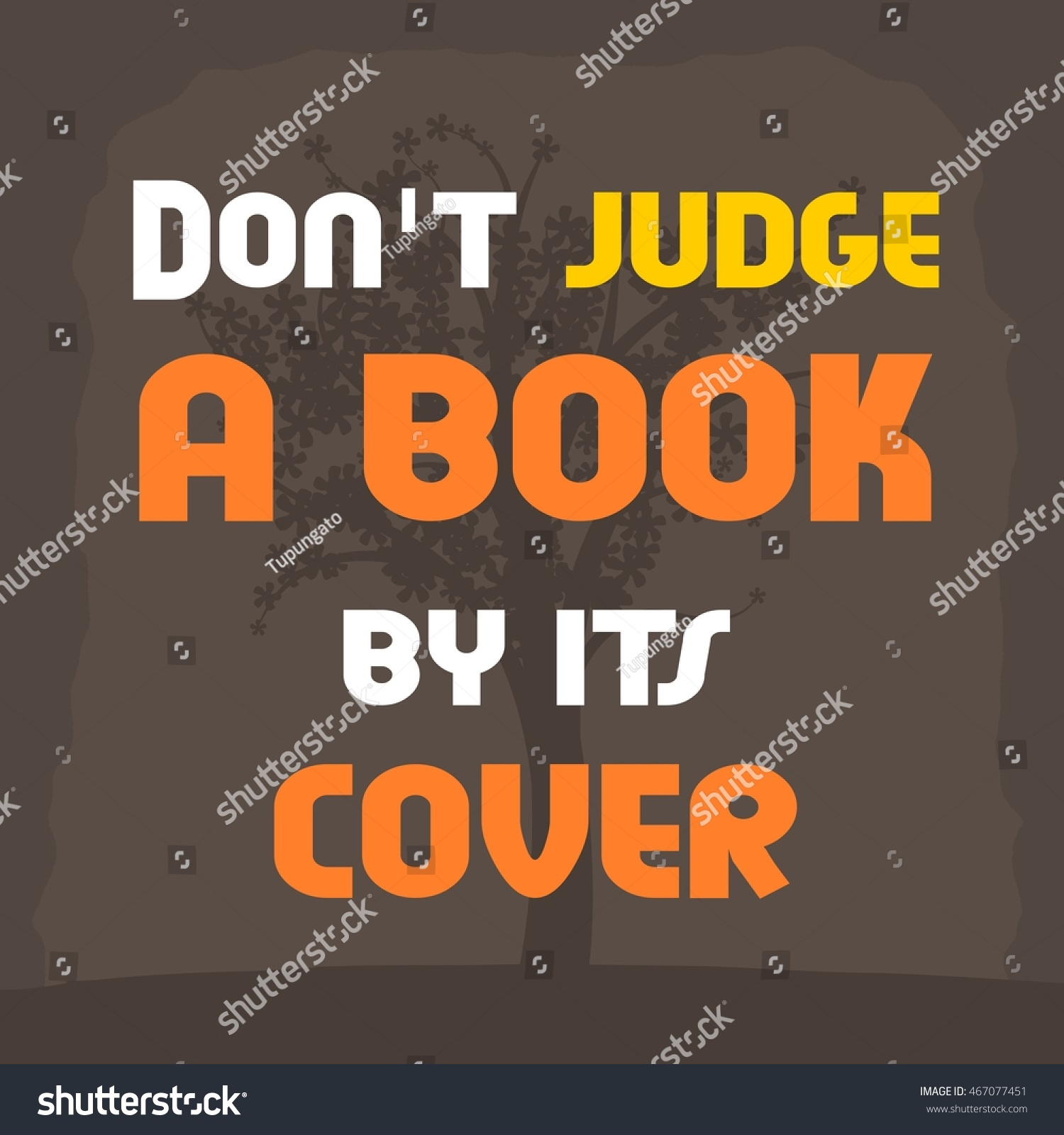 Book Cover Inspiration Jokes ~ Dont judge book by cover motivational stock vector