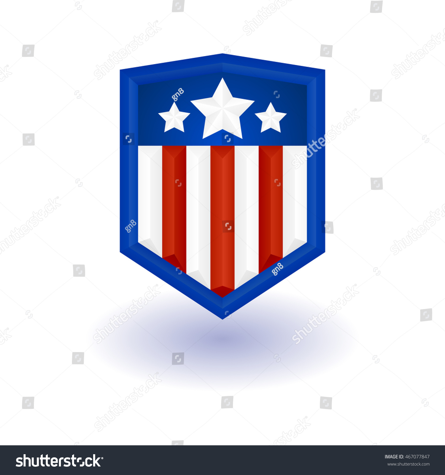 Superhero Logo Template Shield Stars Stripes Stock Vector Royalty
