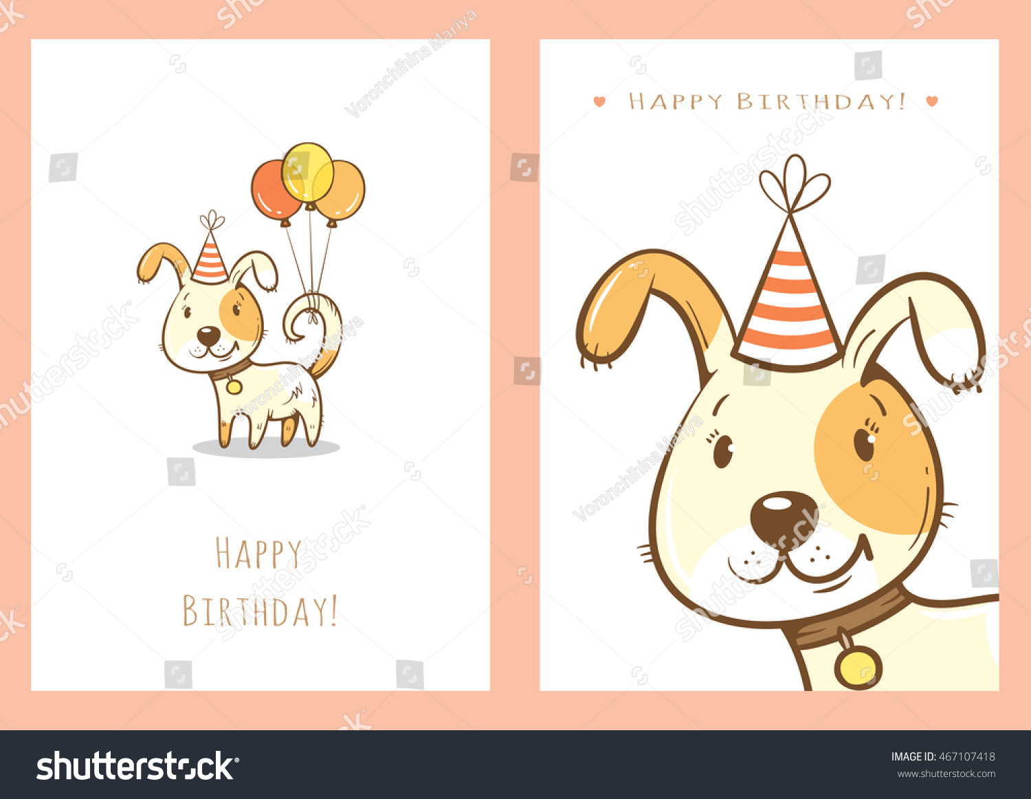 Birthday Cards Set With Cute Cartoon Dogs Balloons And Party Hats Vector Contour Image