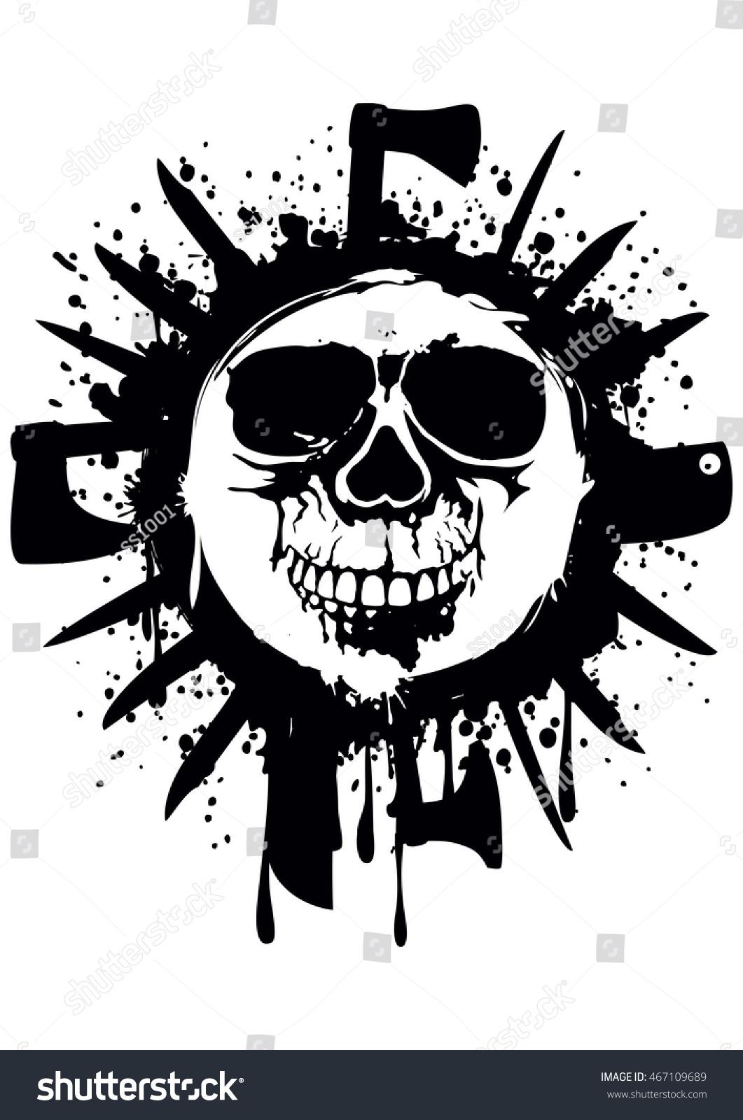 Vector Illustration Grunge White Skull Frame Stock Vector 467109689 ...