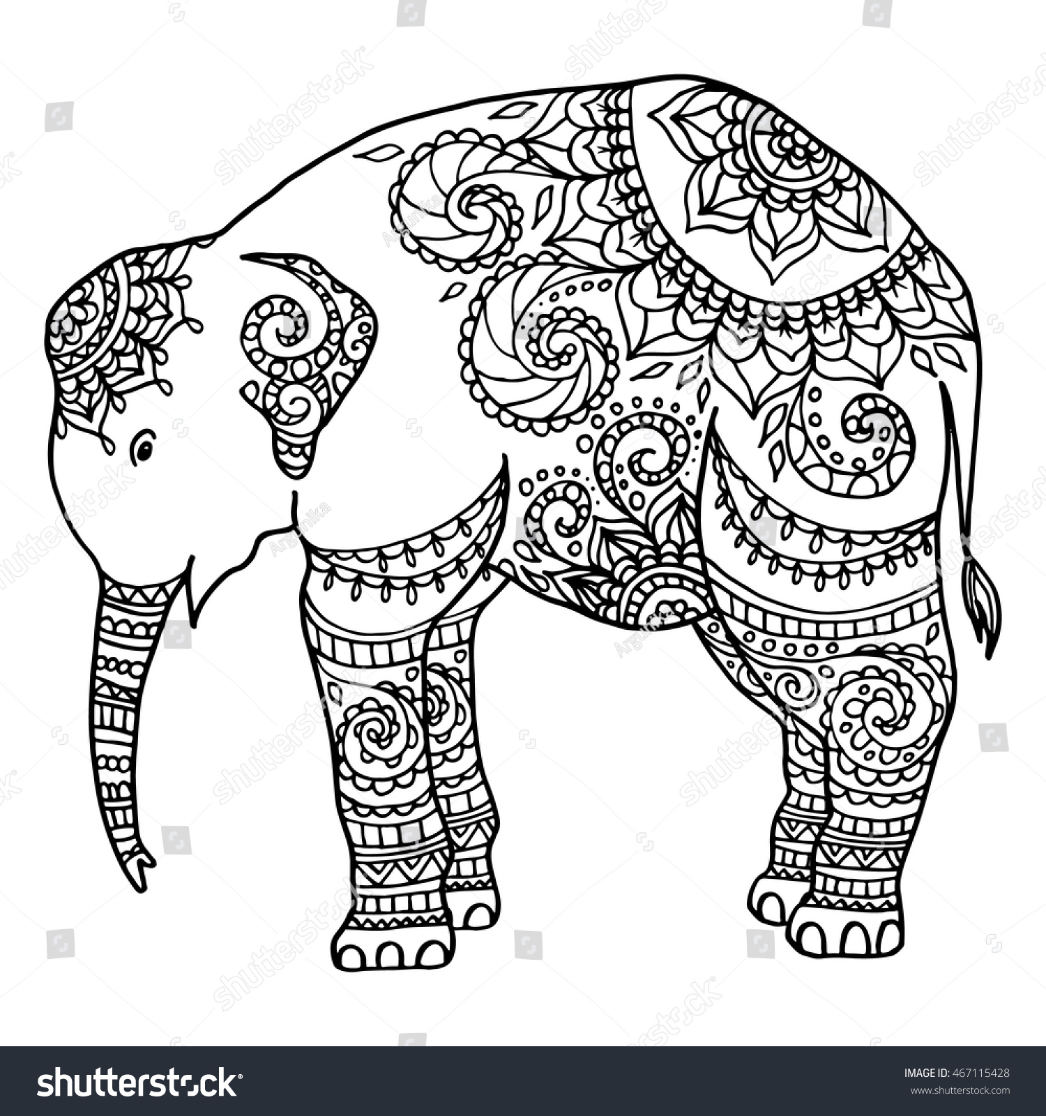 Hand Drawn Little Zentangle Elephant Mandala Stock Vector 467115428 ...