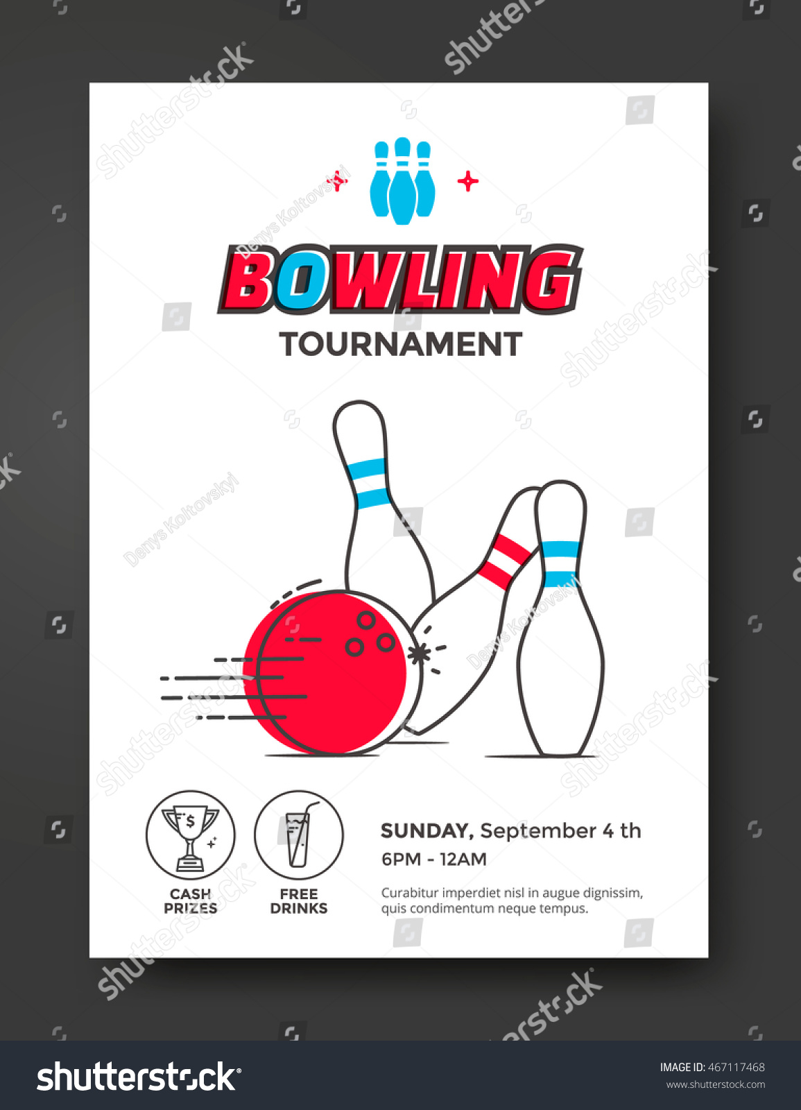 Bowling Tournament Poster Vector Template. Flyer With Line Illustration  Bowling Ball And Skittles.  Bowling Flyer Template Free