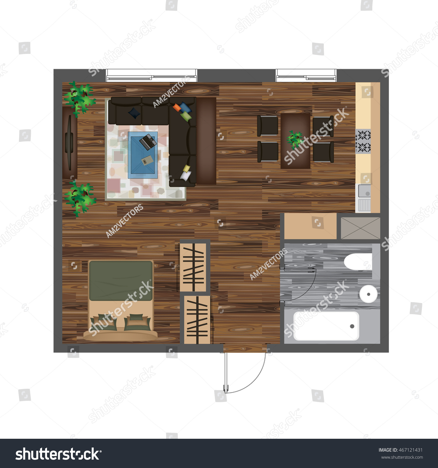 Architectural Color Floor Plan Studio Apartment Stock Vector Royalty Free 467121431