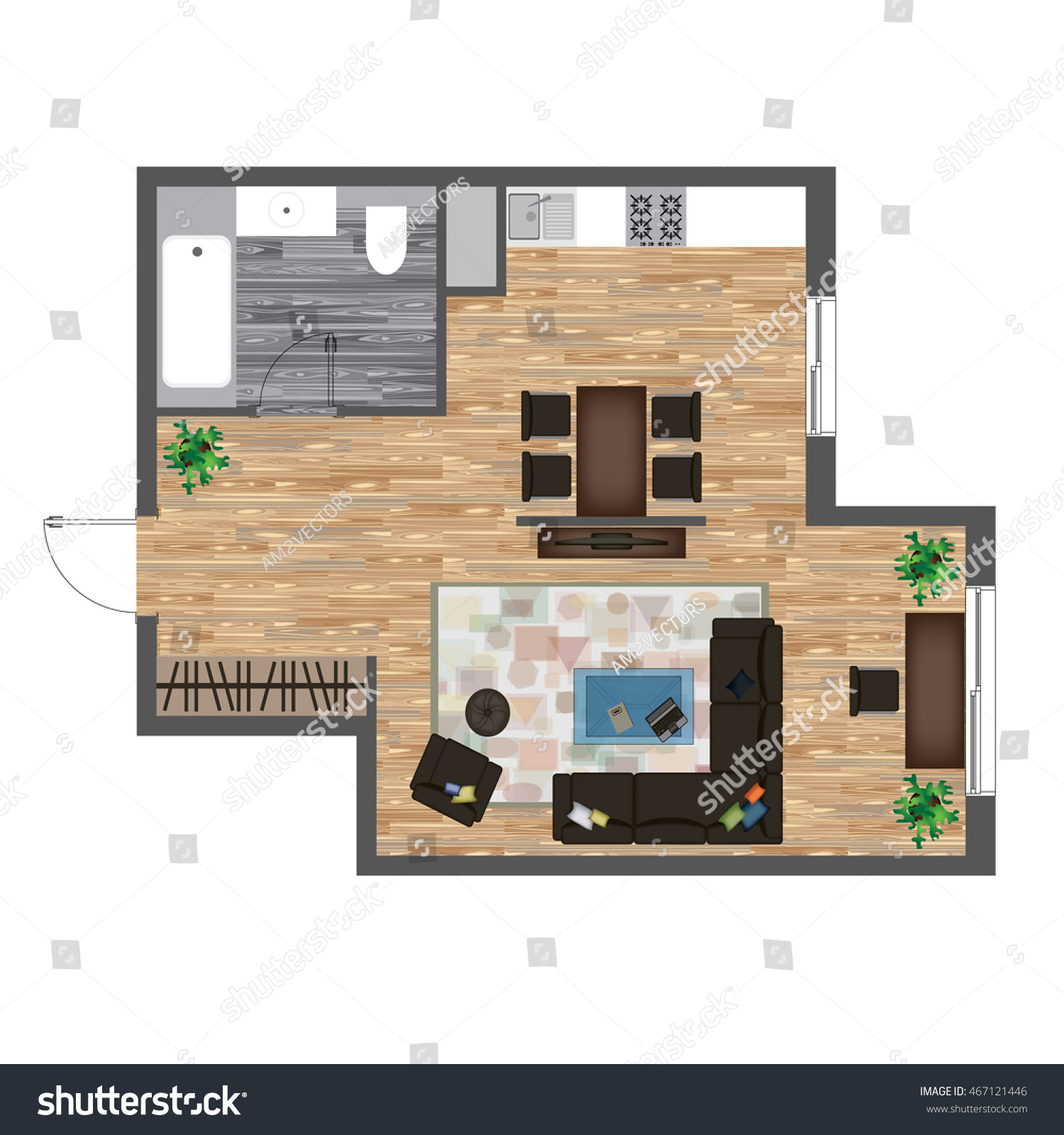 Architectural Color Floor Plan Studio Apartment Stock Vector Royalty Free 467121446
